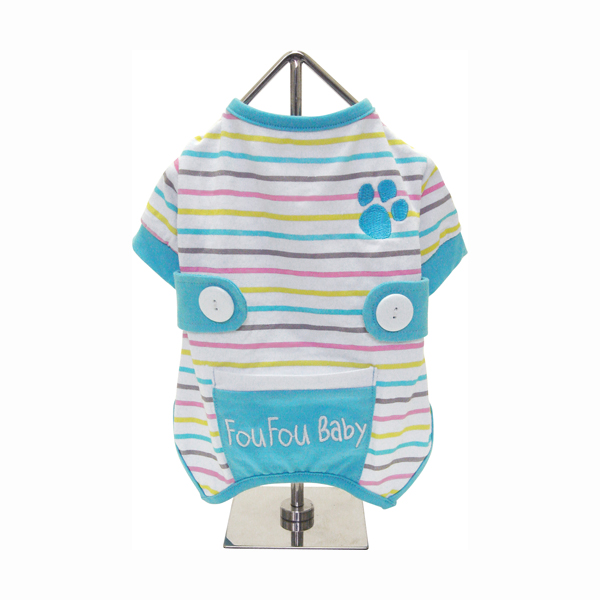 FouFou Striped Dog Onesie - Blue