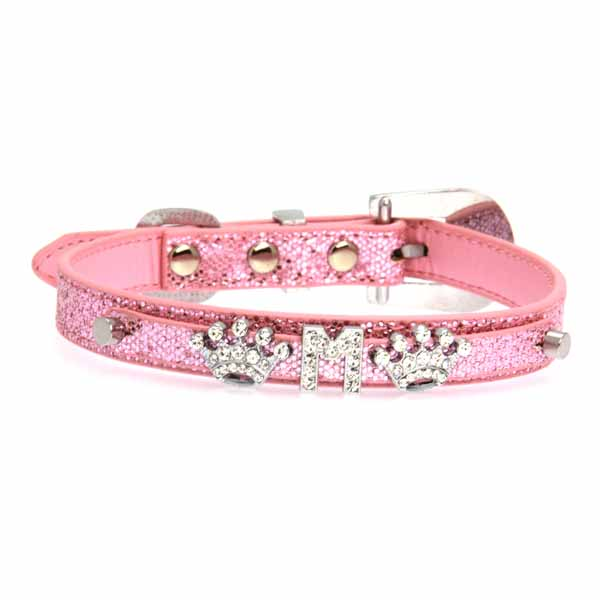 Foxy Glitz Dog Collar with Letter Strap - Pink