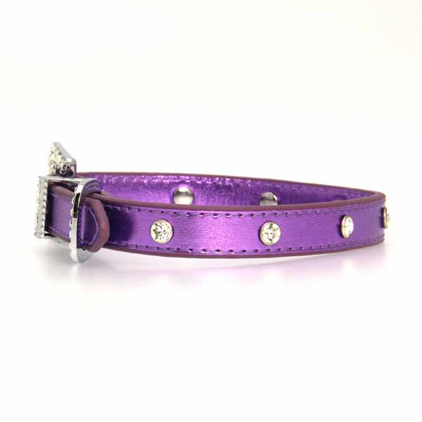 Foxy Jewel Dog Collar - Metallic Lilac