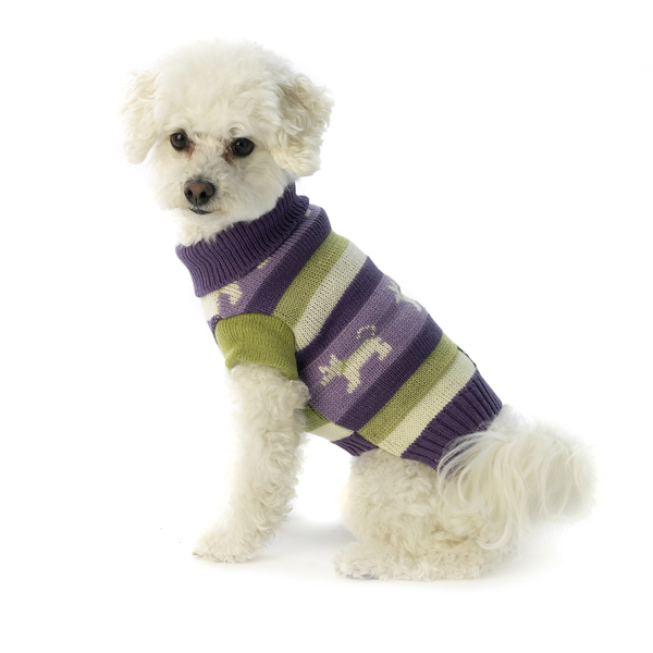 Fritzy's Fair Isle Dog Sweater - Dusty Grape