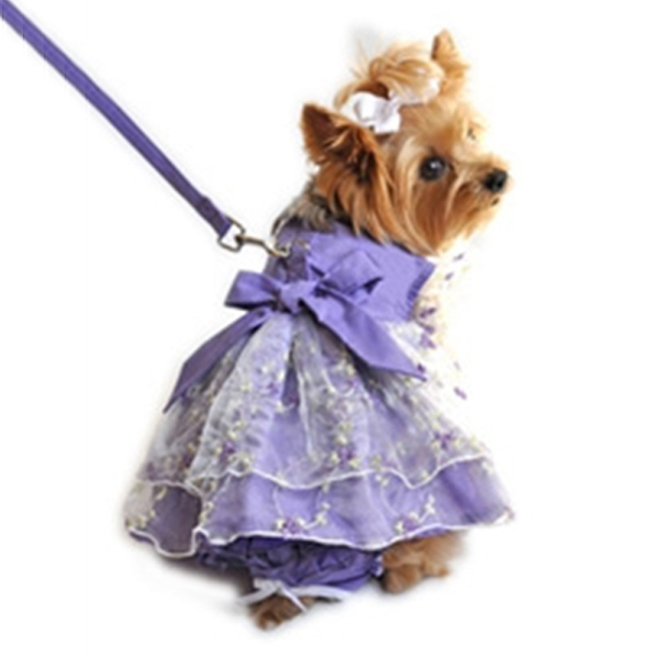Garden Party Dog Dress Set with Panties and Leash - Lavender