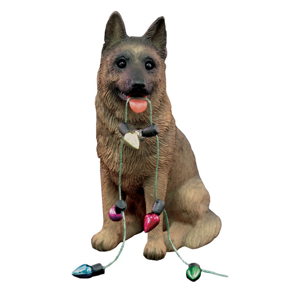 German Shepherd with Lights Christmas Ornament