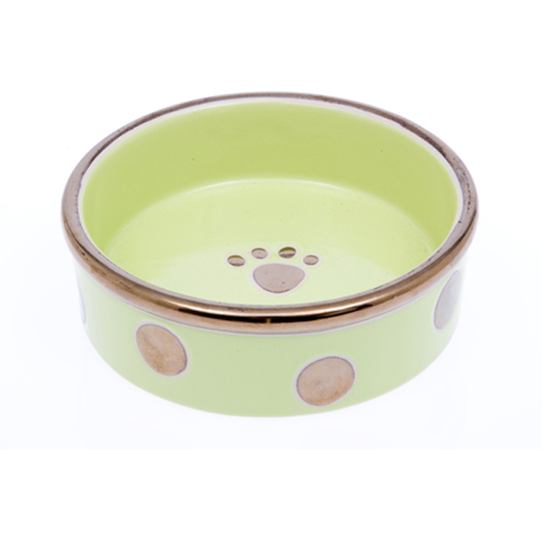 Glitzy Dots Dog Bowl - Kiwi
