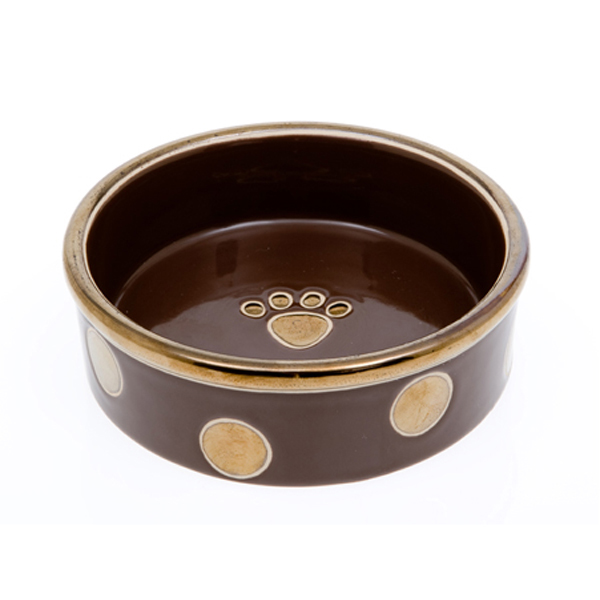 Glitzy Dots Dog Bowl - Mocha