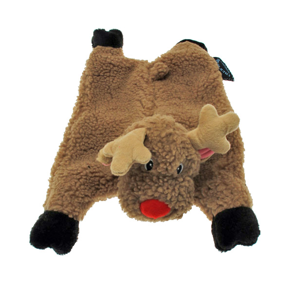 GoDog Reindeer Flatty Dog Toy with Chew Guard
