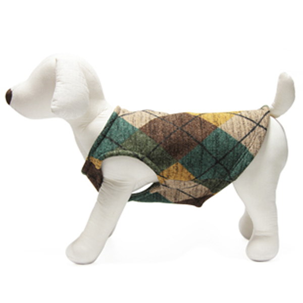 Gooby Designer Dog Sweater Vest - Green and Brown