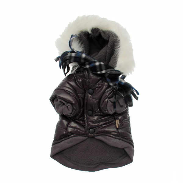 Gray Dog Parka with Scarf