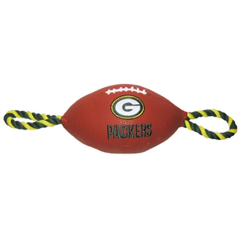 Green Bay Packers Pebble Grain Football Dog Toy