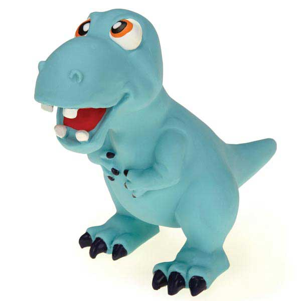Grriggles Dizzy Dinos Latex Dog Toy - Blue T-Rex