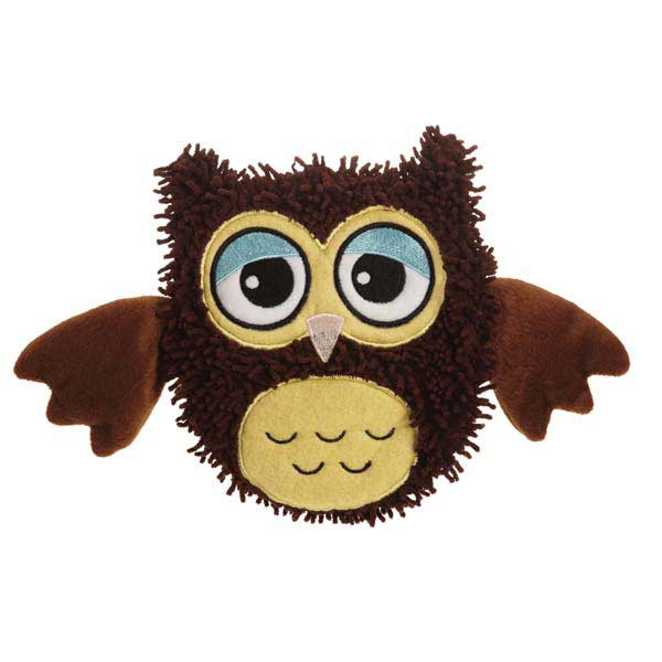 Grriggles Hoot and Howl Crinkle Owls Dog Toy - Brown