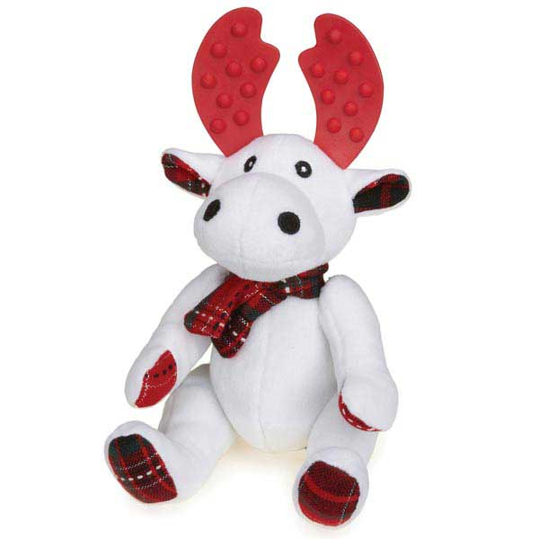 Grriggles Yuletide Tartan Moose Dog Toy - White