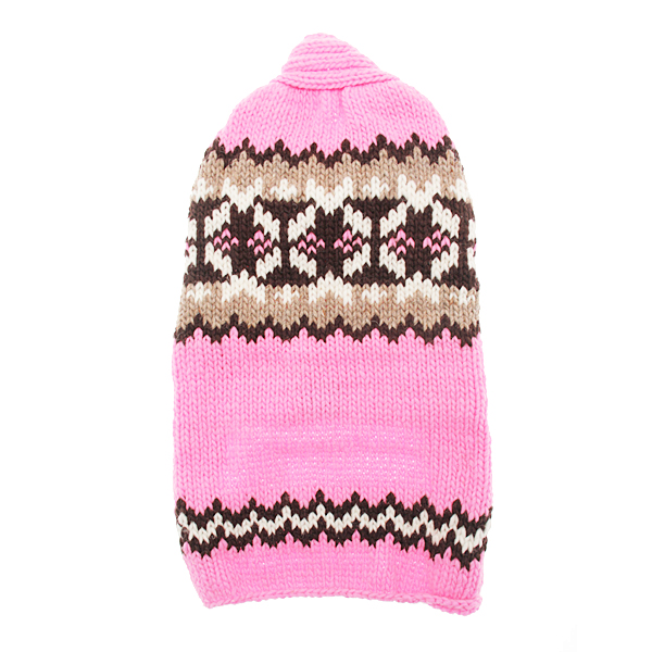 Handmade Aspen Fair Isle Wool Dog Sweater - Pink