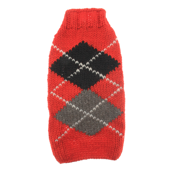 Handmade Classic Argyle Wool Dog Sweater - Red