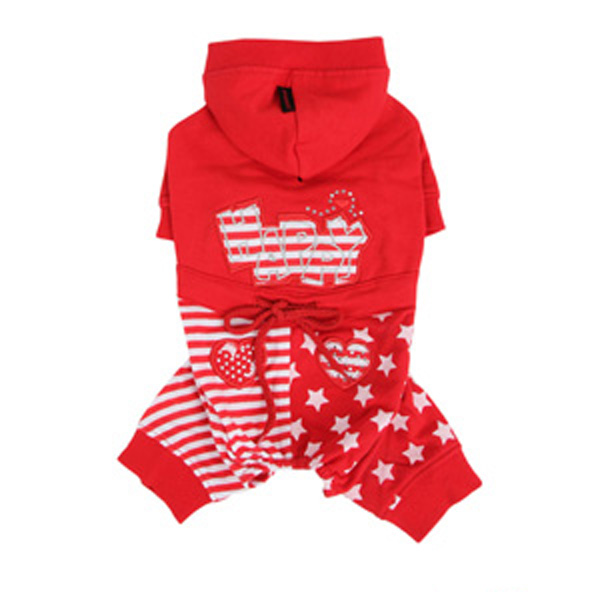 Happy Star Hooded Dog Jumpsuit by Puppia - Red