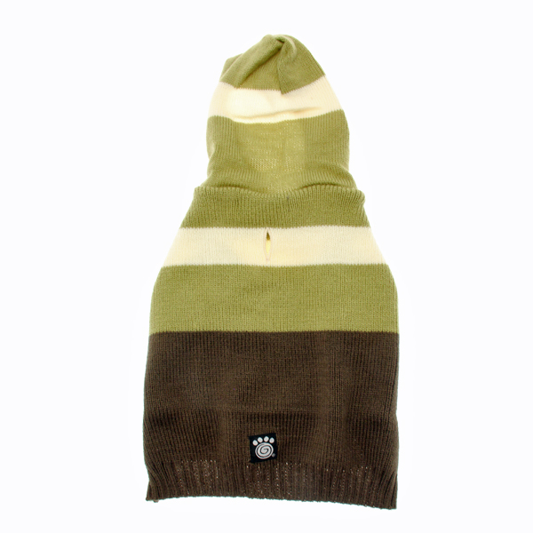 Harley's Hooded Dog Sweater - Winter Pear & Olive Stripe
