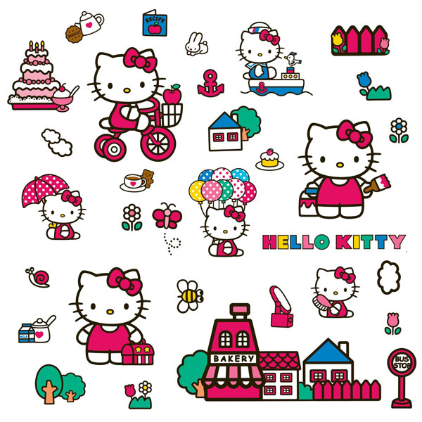 Hello Kitty Bedroom Decor   World Of Hello Kitty Wall Decals Part 66