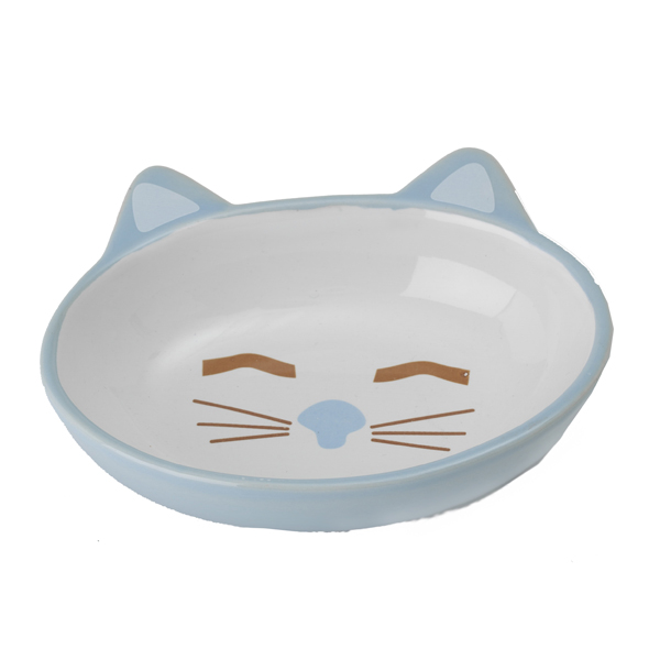 Sleepy Kitty Blue Cat Bowl Baxterboo