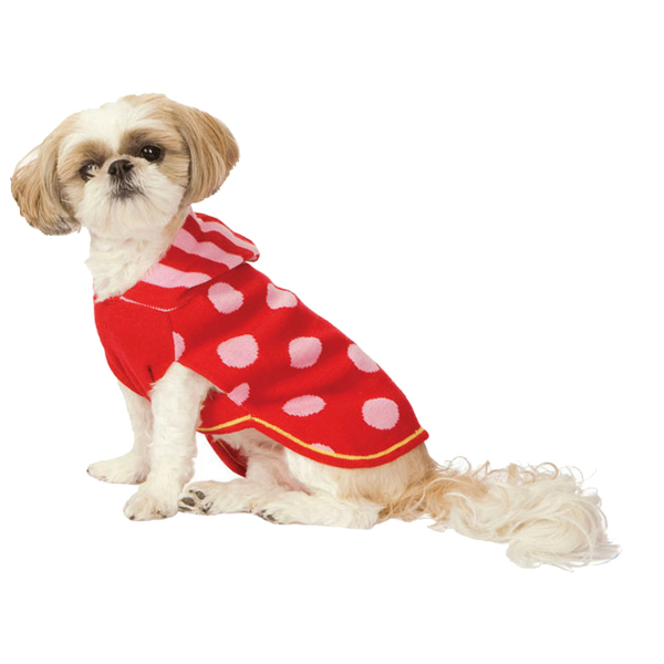 Hooded Polka Dot Dog Sweater - Red