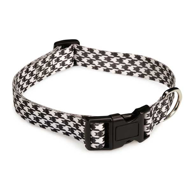 Houndstooth Bat Dog Collar - White