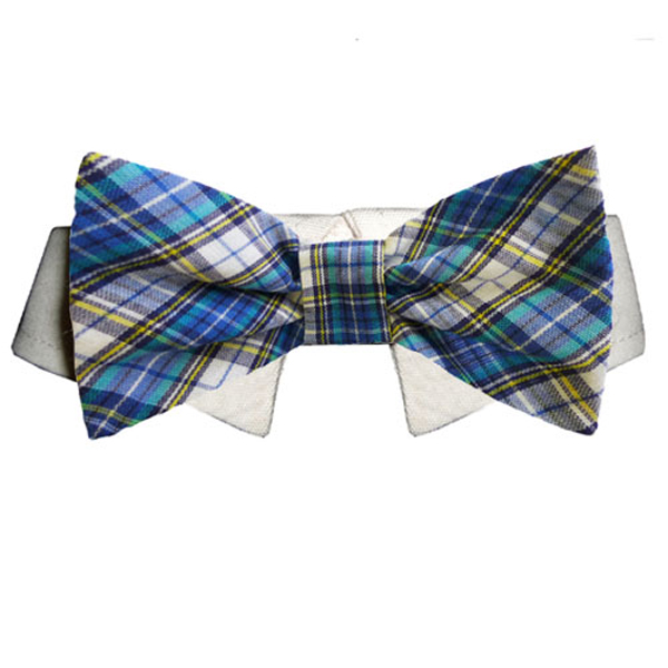 Isaac Dog Shirt Collar And Bow Tie Blue And Yellow Plaid