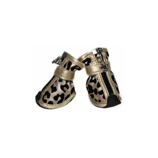 Leopard Print Fashion Dog Boots - Gold