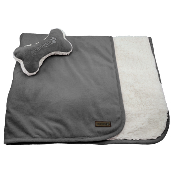 Luxe Sherpa Puppy Blanket and Toy Set - Charcoal Gray