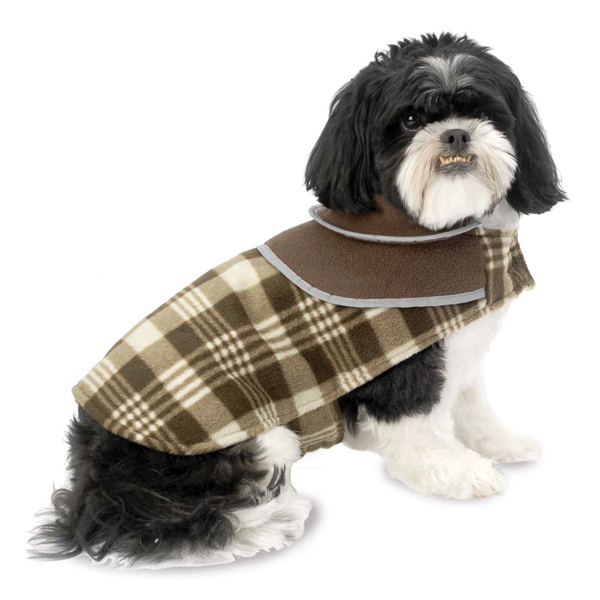 Manchester Fleece Dog Coat  - Brown Plaid
