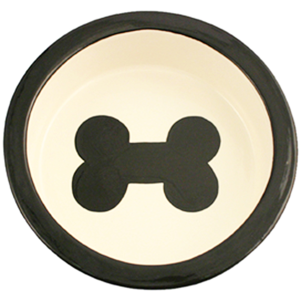 Melia Bone Ceramic Pet Bowl - Black