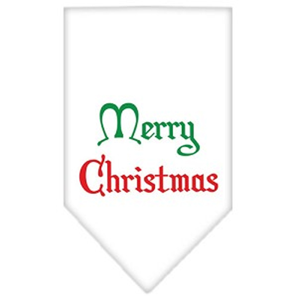 Merry Christmas Screen Print Dog Bandana - White