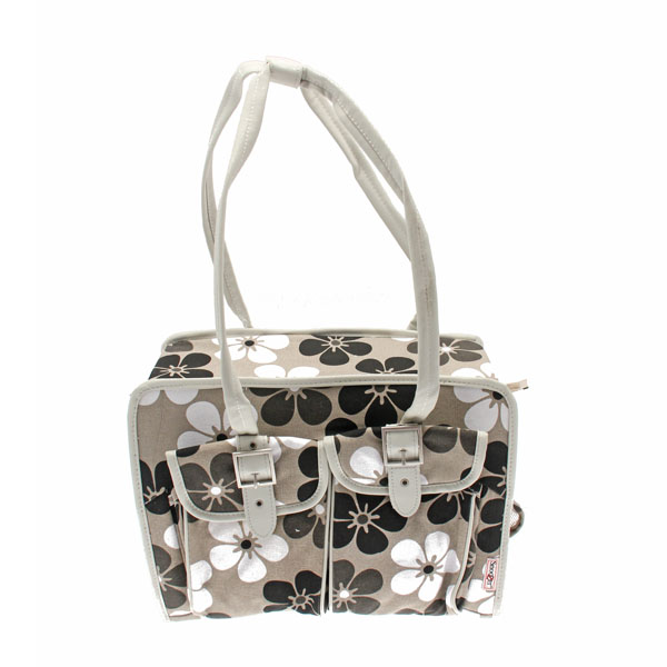 Metro Slant Pocket Dog Tote - Neutral Floral