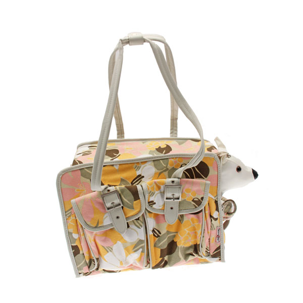 Metro Slant Pocket Dog Tote - Pink/Yellow Floral