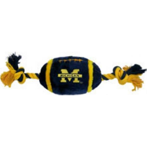 Michigan Wolverines Plush Football Dog Toy