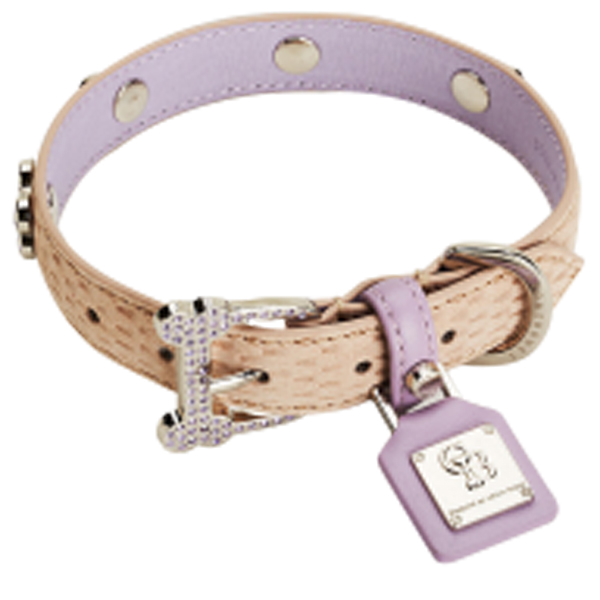 Mojave Tan Lavender Limited Dog Collar by Chrome Bones