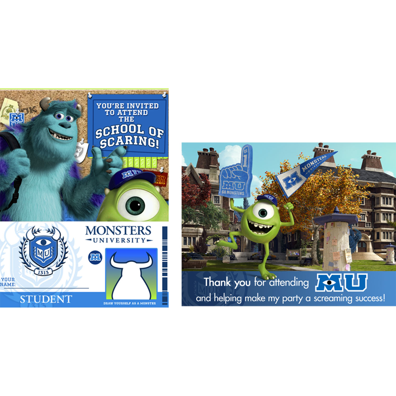 Monsters University Party Supplies - Monsters University Invitations ...