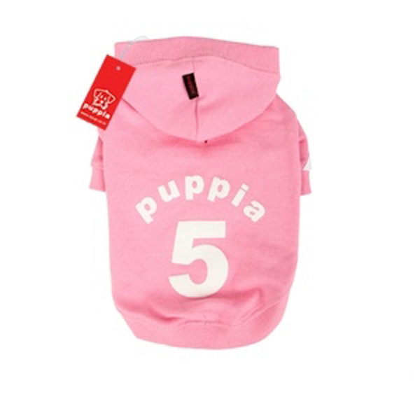 Number 5 Dog Hoodie by Puppia - Pink