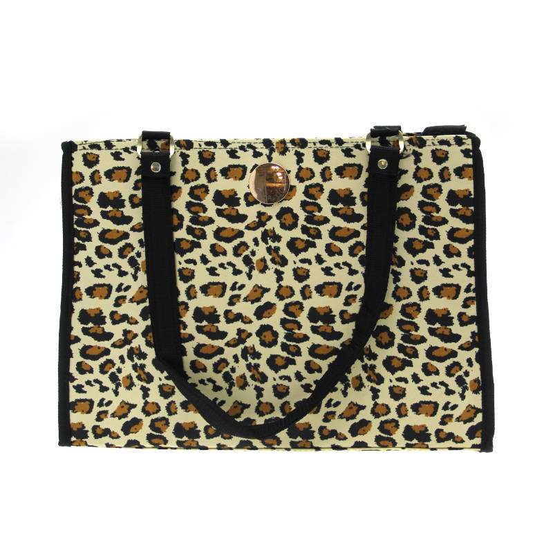 NY Dog Leopard Print Zippered Pet Tote - Black Trim