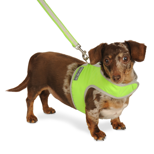 Nylon-Fleece Dog Vest Harness - Lime Green