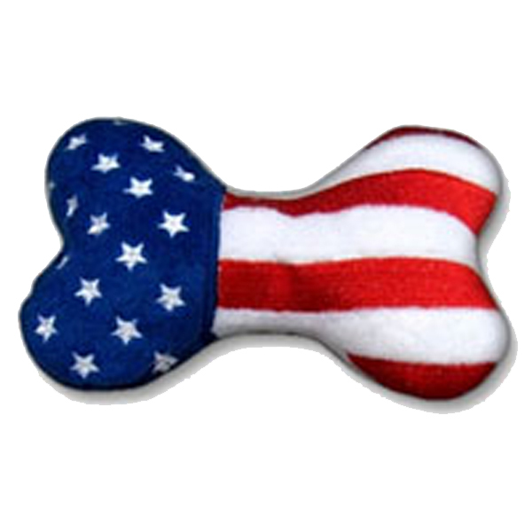 Patriotic Plush Dog Toy - Bone