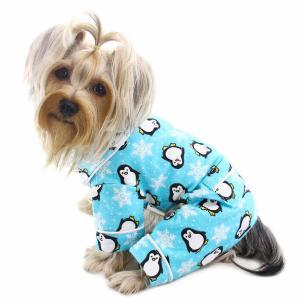 Penguins and Snowflakes Flannel Dog Pajamas by Klippo - Turquoise