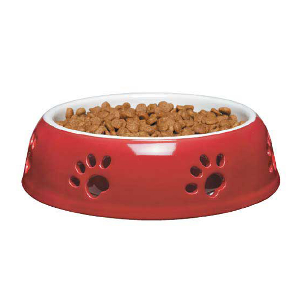 Pet Studio Pawprint Dog Dish - True Red
