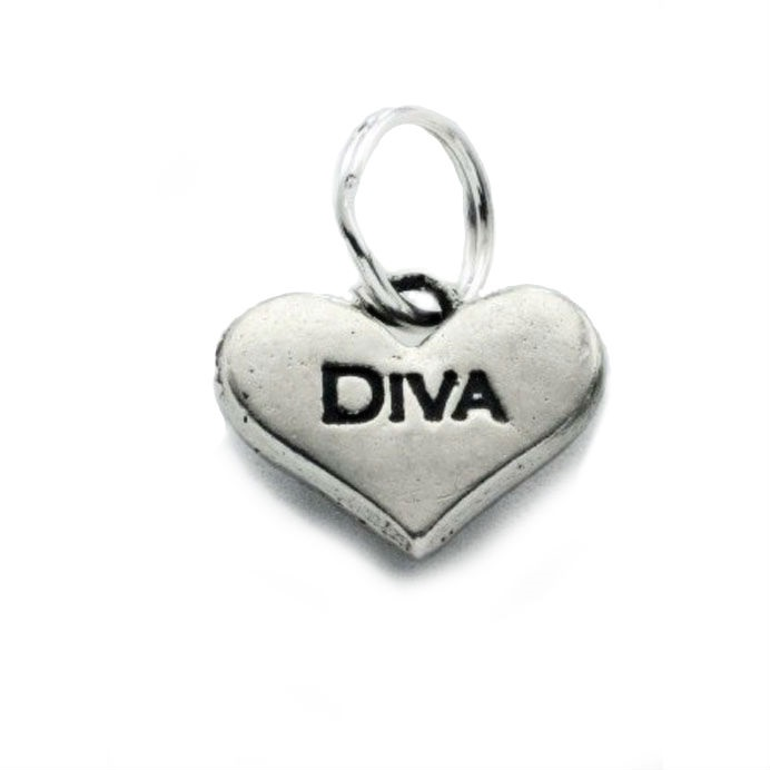 Pewter Dog Collar Charm or Cat Collar Charm: Diva Heart