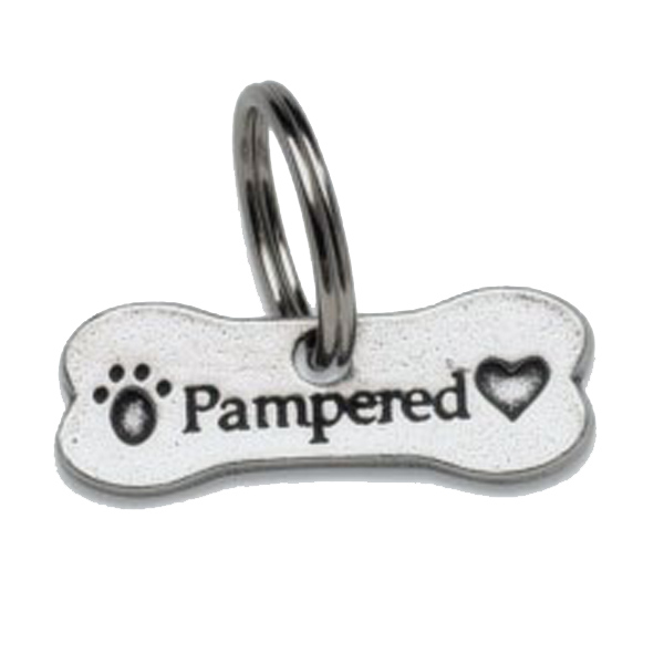 Pewter Dog Collar Charm or Cat Collar Charm: Pampered