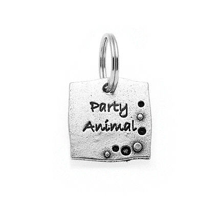 Pewter Dog Collar Charm: Party Animal
