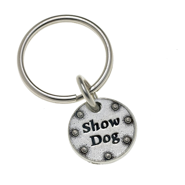 Pewter Pet Lover Keychain - Show Dog