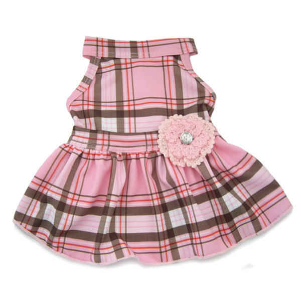 Pink Plaid Dog Dress