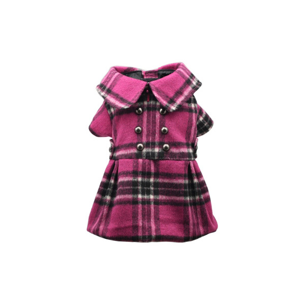 Pink Plaid Dog Dress Coat