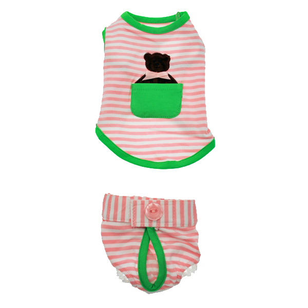 Pink Striped Dog Pajama Set