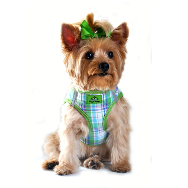 Plaid American River Choke Free Dog Harness - Green and Turquoise