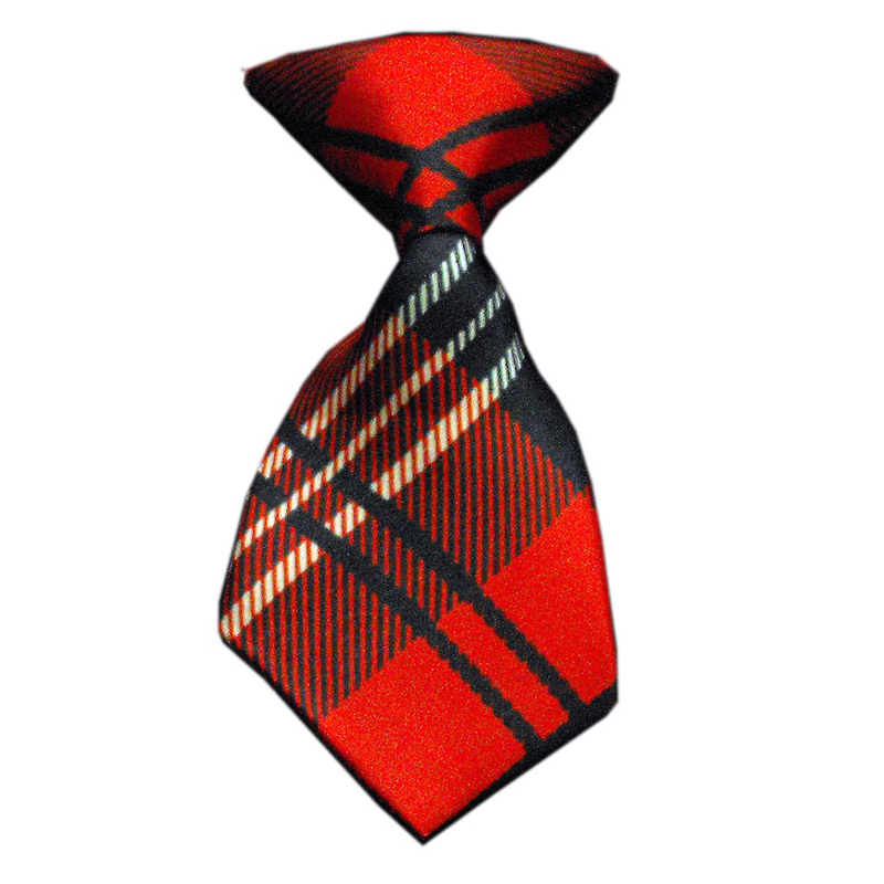 Plaid Dog Neck Tie - Red