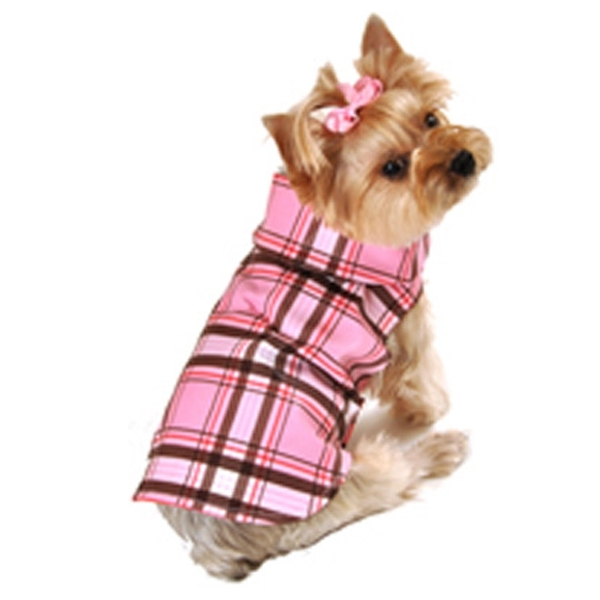 Plaid Dog Raincoat - Pink